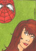 MJ and Spidey Sketch Card by wheels9696