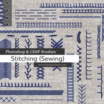 Stitching - Sewing Photoshop and GIMP Brushes by redheadstock