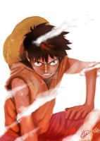 OP- 2nd gear Luffy by Goldman-Karee