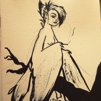 Inktober/monster girl day 1 - harpy by EmiliAlys