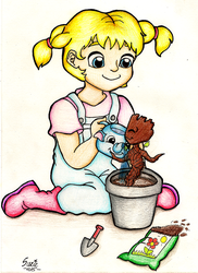 Katie and baby Groot by suzie-chan