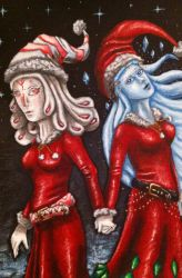 Christmas Crazy pattern Girl and Shiva by TheLandoBros