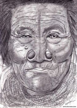 Pencil sketch of an elderly Apatani woman by GatlingInks