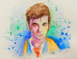 Ten~ Doctor Who Watercolor Series by MissMachineArt