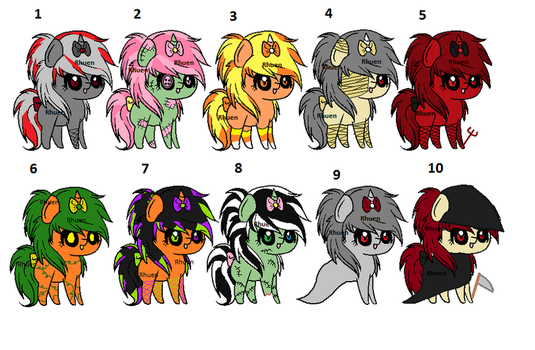 [AUCTION]Halloween Ribbon Pony Adoptables! by RhuenKun