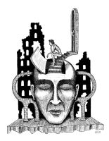 Decision surreal black and white pen ink drawing by Vitogoni