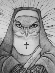The Owl Nun bw by AngelaRizza