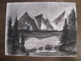 Mountain Landscape Charcoal by Digg409