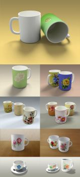 Mugs and Cups Mockup Templates by xgfxws