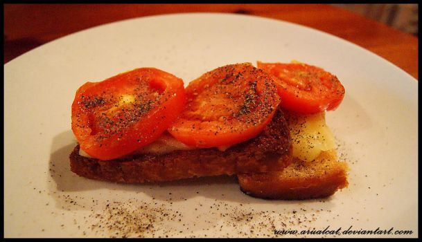 Bread, cheese, tomato by arualcat