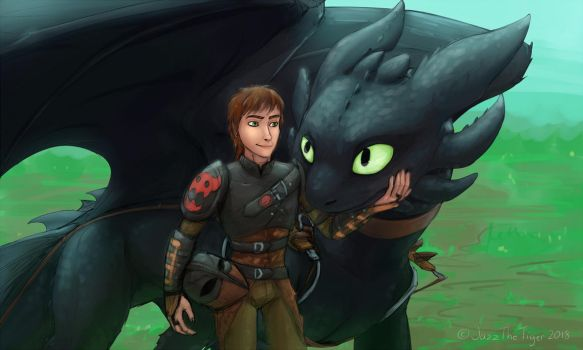 Hiccup has the BEST dragon by JazzTheTiger