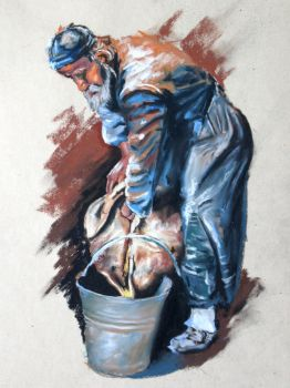 Old Man Filling Bucket by fourquods