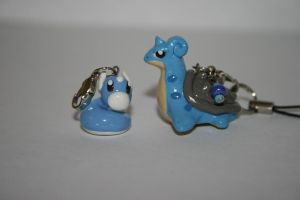 Lapras and Dratini Clay Charms by Katy-A