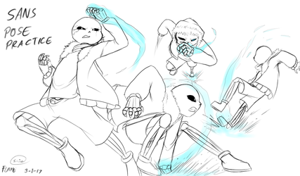 Sans attack Pose practice 2017 art by FLAMERSBLAME