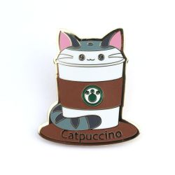 Catpuccino: Cute Coffee Kitty Enamel Pin by kimchikawaii