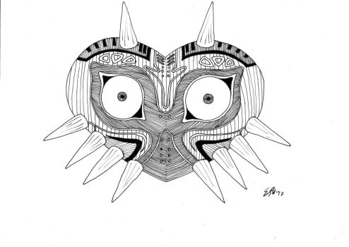 Inktober Day 31: Mask by Ideaus