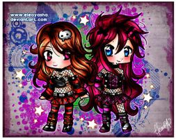 Chibis Eleo and Cherry Bomb by eleoyasha