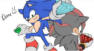 Sonic and Shadow on iscribble by AngelofHapiness
