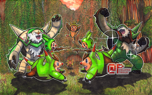 Poke Days: Chespin Family by Pixelated-Takkun