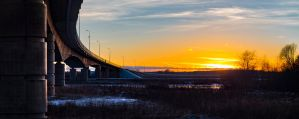 An Arcing Bridge at Sunset by sulevlange