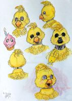 Classic Chica, Face Sketches by PrimalArc