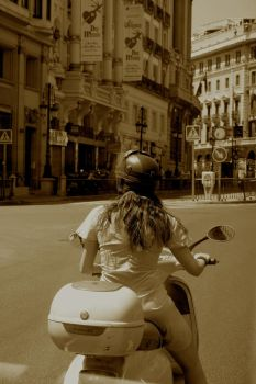 Woman on Scooter in Madrid by Blackmattetoro