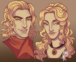 Jaime and Cersei Lannister by naomimakesart