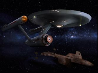 Restored Starship Enterprise Model w Botany Bay 2 by Cannikin1701