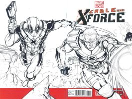 CABLE and DEADPOOL sketch cover commission by mdavidct