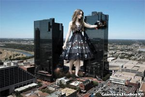 Giantess Lily Collins Easy Picking by GiantessStudios101