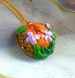 Summer Lilac Polymer Clay Pendant Necklace by aldcord