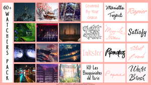 60+ Watchers BG/ Font Pack by n00b-toshi