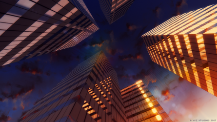 Building and Clouds - Sunset - Anime Style by Gubnub