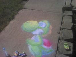 Drawing Yoshi on the asphalt by Gloomy-mushroom