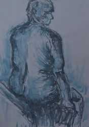 Blue Ink Life Drawing by Raaawr-artist
