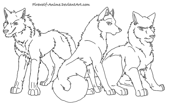 Three Wolves Lineart by Firewolf-Anime