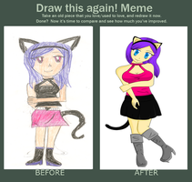 Draw this again! - Cat Girl by ReverieRose
