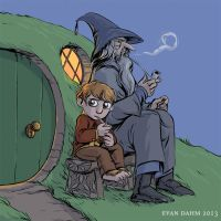 Gandalf and Bilbo by devilevn