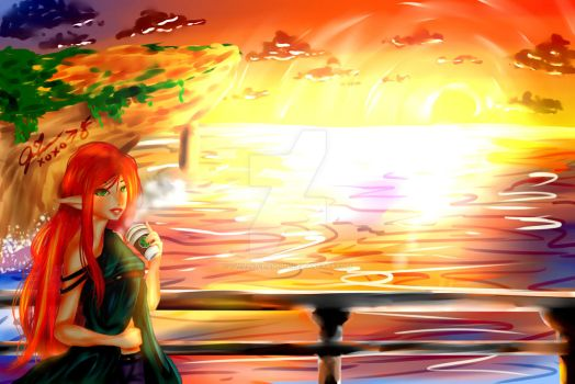 Sunset + Coffee by Twilly-Chan1034