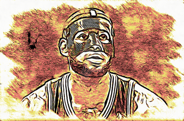 Masked LeBron James with the background on fire by NBA-Scholar