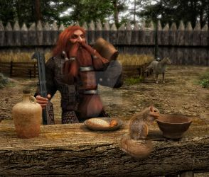 Asmund and a squirrel by Aequinox3d