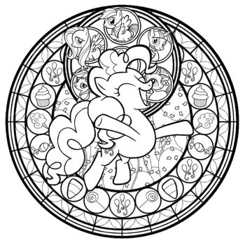 Pinkie Pie Stained Glass Line Art by Akili-Amethyst