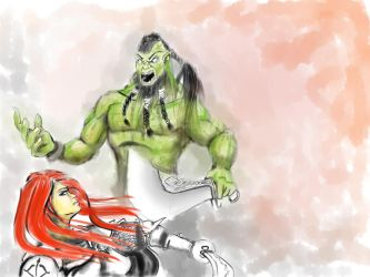 Orc vs redhaired warrior by jormungan13