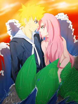 Narusaku: Sailor and Mermaid by SVLynette