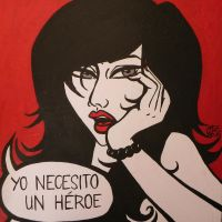 Spanish Pop Art Lonely Lady Who Needs A Hero by erryCherry