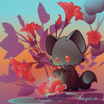 Fat Cat and the Hibiscus Flowers by lafhaha