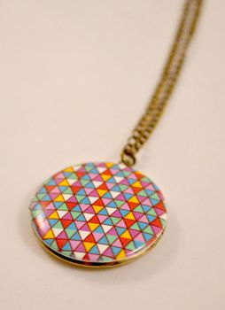 Geometric Neon Antique Bronze Locket by AshsMysticEmporium