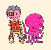 space kid and octopus by monokoma