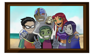 Teen Titans Family Picture by DANI-INKS