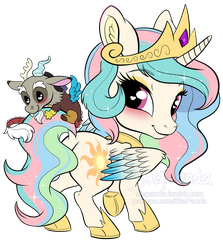 Princess Celestia and Discord chibi by StePandy